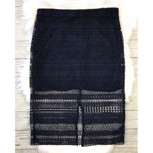 MNG Suit Collection Navy Blue Lace Skirt